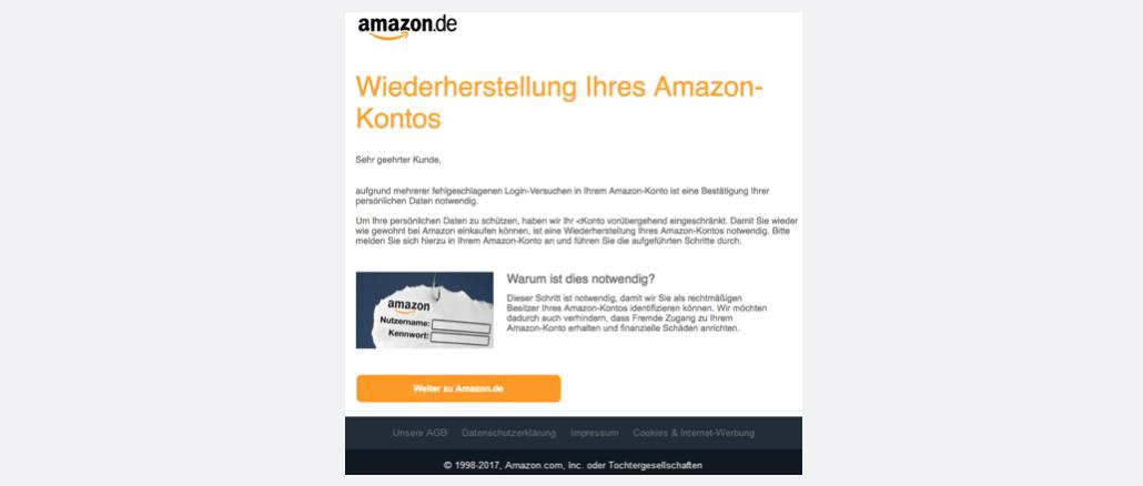 Amazon Phishing aktuell Ihr Kundenkonto auf Amazon.de wurde gesperrt
