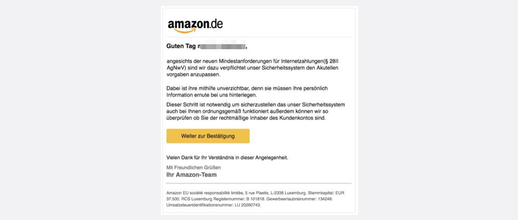 Amazon Phishing aktuell Nachricht vom Kundenservice