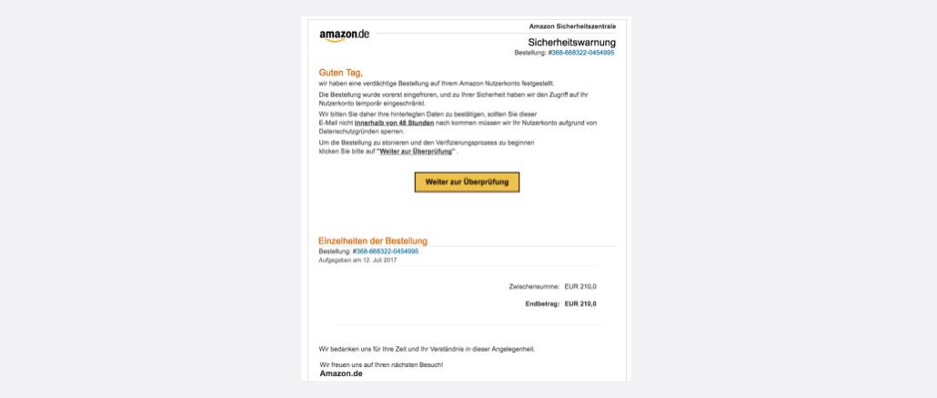 Amazon Phishing aktuell Unzulässige Transaktion festgestellt