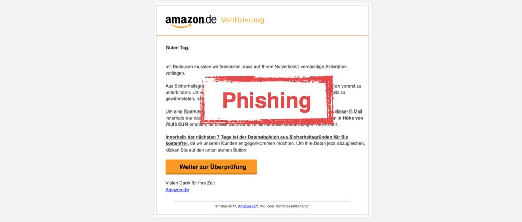 Amazon Spam aktuell Nutzerkonto gesperrt Amazon Verifizierung