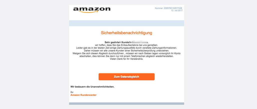 Amazon Spam aktuell Vorsorgliche Kontosperrung