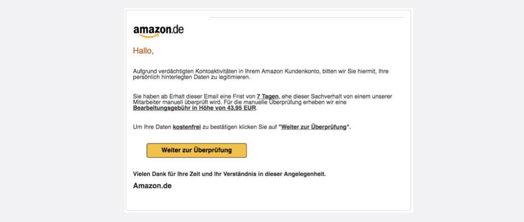 Amazon Spam aktuell Wichtig Nutzerkonto gesperrt