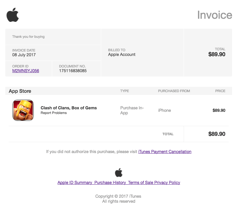 Apple Spam Phishing Clash of Clans In-App-Kauf