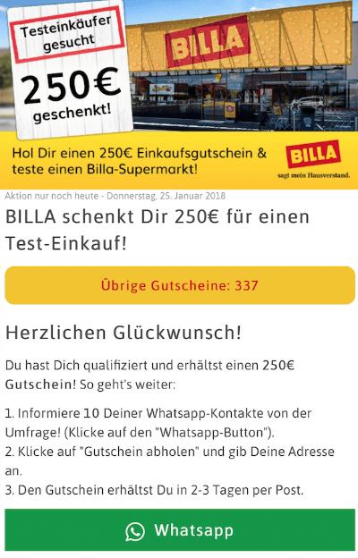 Bille Testeinkäufer gesucht 250 Euro geschenkt WhatsApp teilen