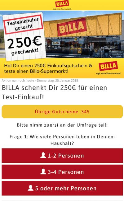 Bille Testeinkäufer gesucht 250 Euro geschenkt