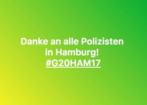 Danke an Polizisten in Hamburg