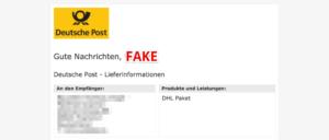 E-Mail Deutsche Post Nachnahme Rechnung