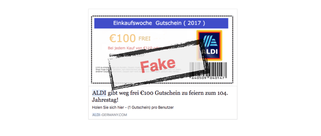 Facebook Aldi Gutschein 100 Euro