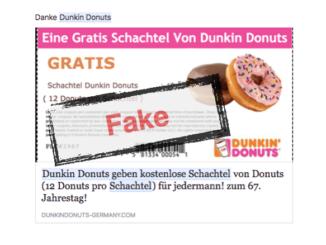 Facebook Dunkin Donuts gratis Schachtel