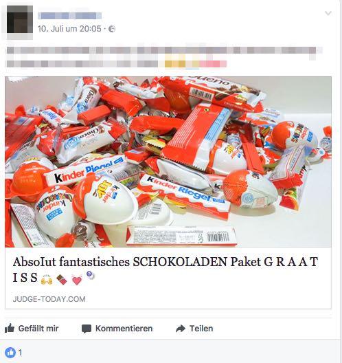 Facebook Post Schokoladenpaket Kinder