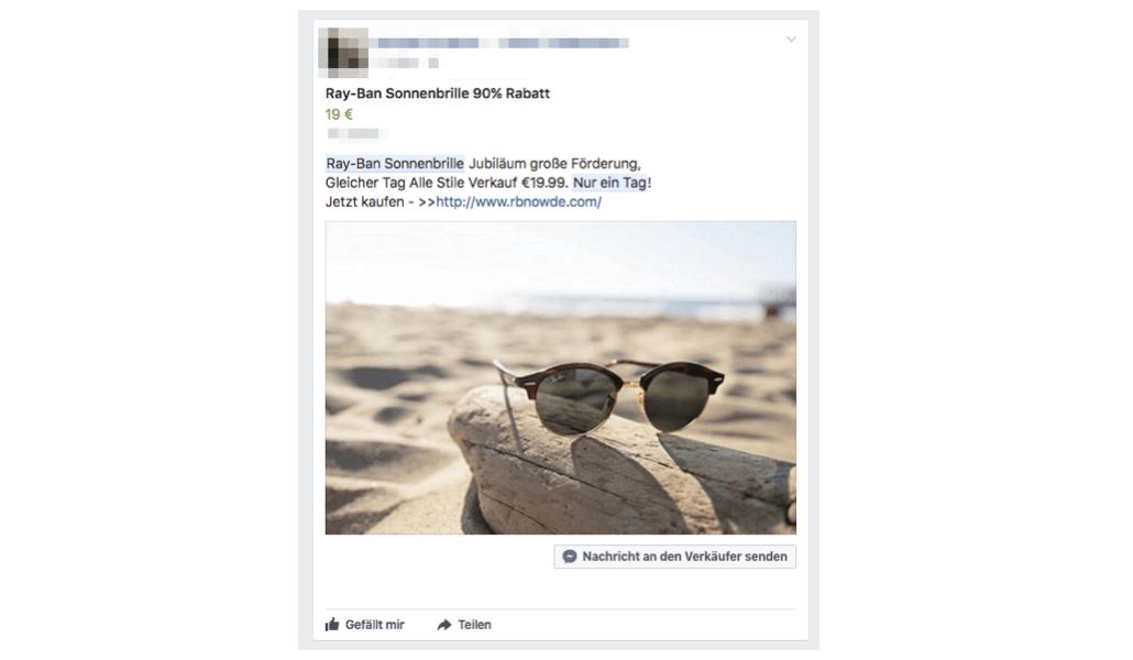 Facebook Spam Ray-Ban Sonnenbrillen