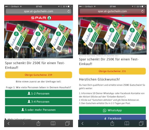 Facebook WhatsApp 250 Euro Spar Einkaufsgutschein Fake