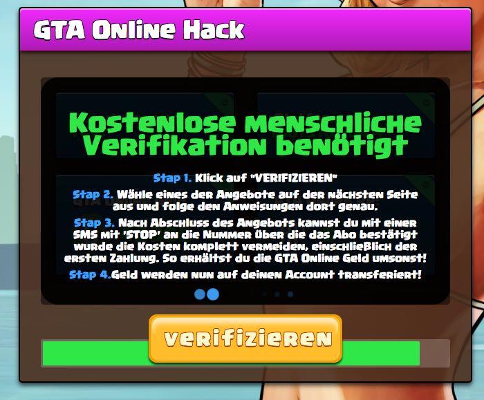 GTA Online Hack -Verfikation