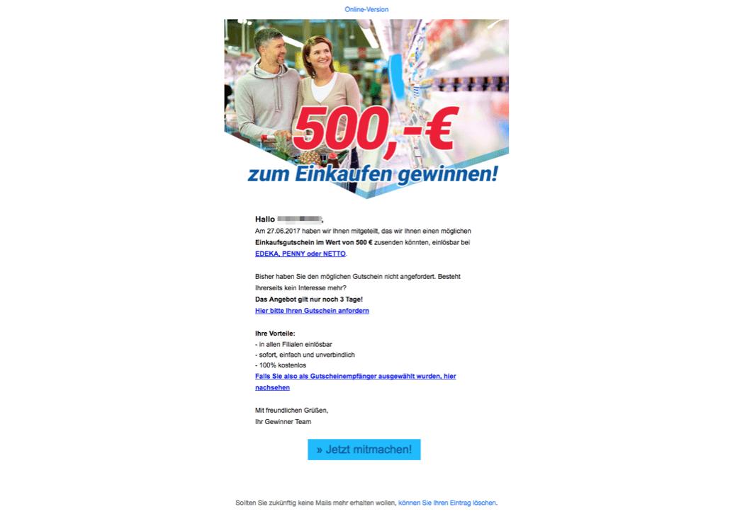Achtung Datensammler: E-Mail Lieferung für - 500,- Supermarkt Gutschein
