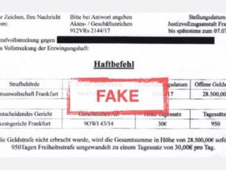 Haftbefehl Staatsanwaltschaft Frankfurt Betrug Fake