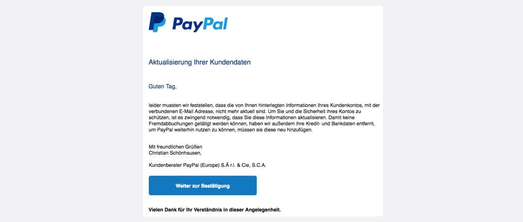paypal phishing aktuell diese e mails sind betrug spam bersicht. Black Bedroom Furniture Sets. Home Design Ideas
