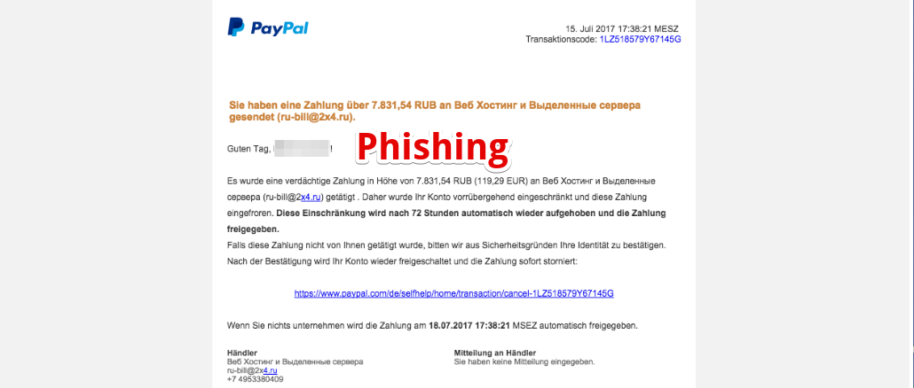 PayPal Spam Phishing Zahlung an 2x4.ru