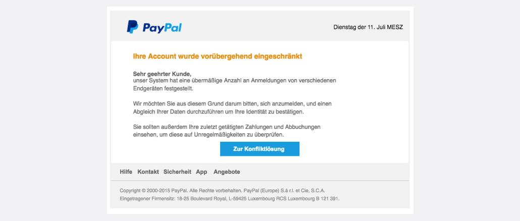 PayPal Spam aktuell 11072017 Ihre Mithilfe ist erforderlich - Nutzerkonto eingeschraenkt