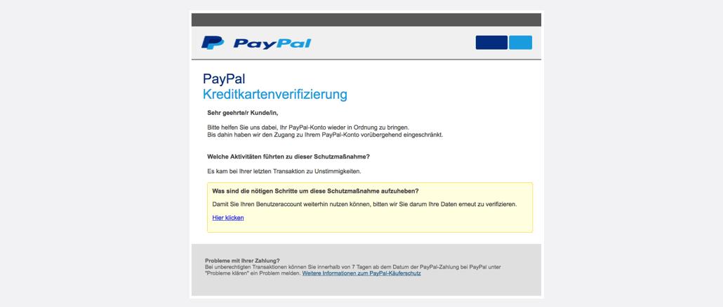 PayPal Spam aktuell Kreditkartenverifizierung
