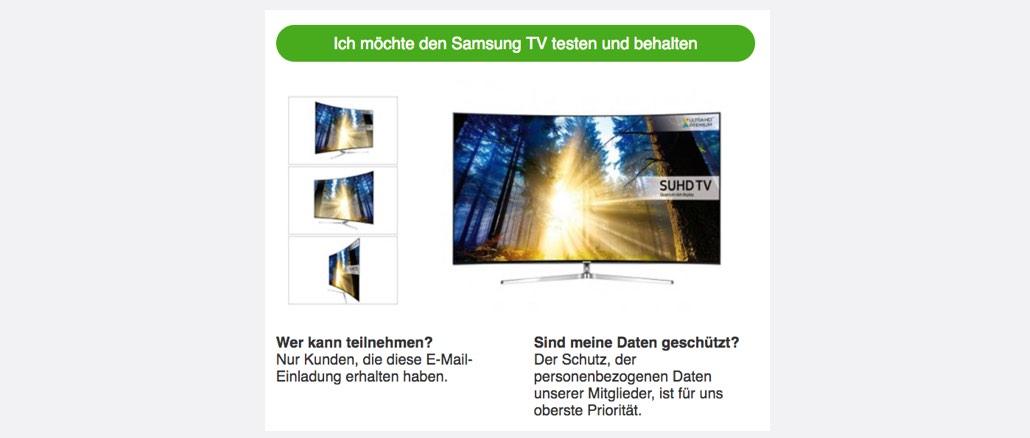 Spam E-Mail Samsung TV testen und behalten