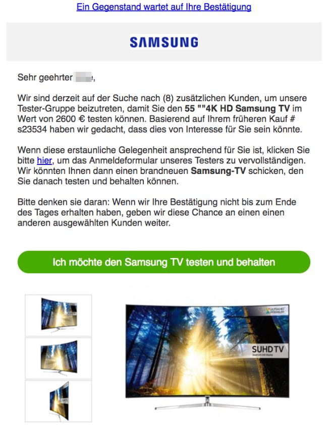 Spam E-Mail Tester Smasung TV gesucht