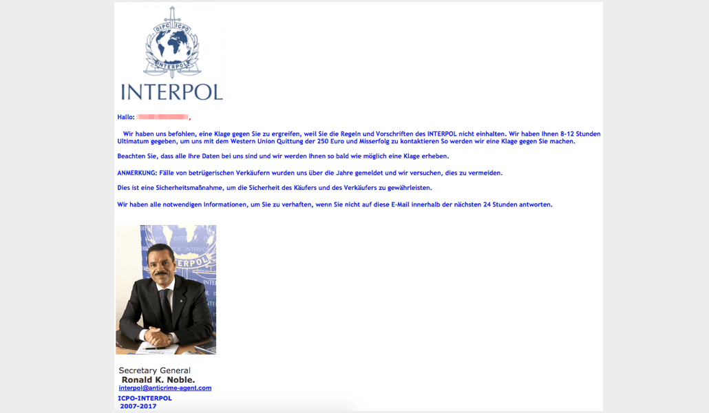 Spam Email Interpol