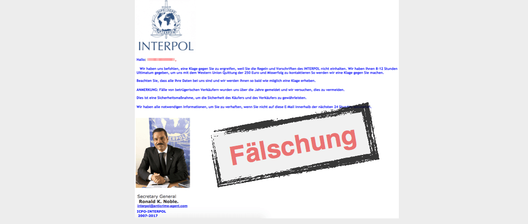 Spam E-Mail im Namen von Interpol