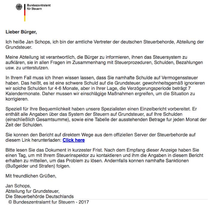 Spam-Mail Bundeszentralamt fuer Steuern Schulden Virus