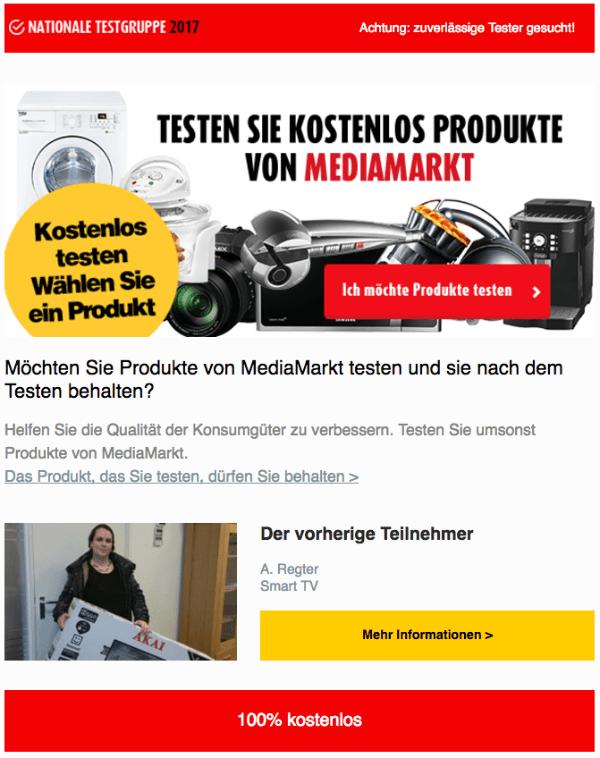 Spam Mail Testen Sie kostenlos Produkte von Mediamarkt