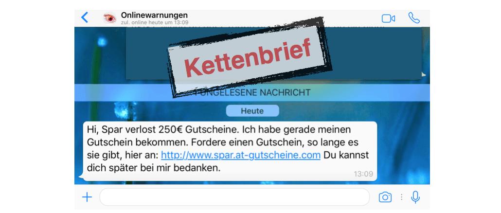 Spar Gutschein WhatsApp Kettenbrief