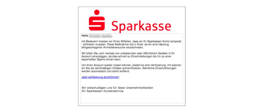 Sparkasse Spam Mail Wichtig- Ihr Konto wurde eingefroren