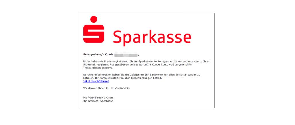 Sparkasse Spam Phishing Wichtig- Sparkasse Sicherheitsmitteilung