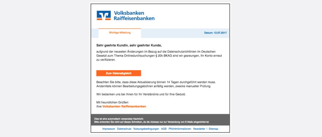 Volksbank Spam aktuell Volksbank - Sicherheitscenter