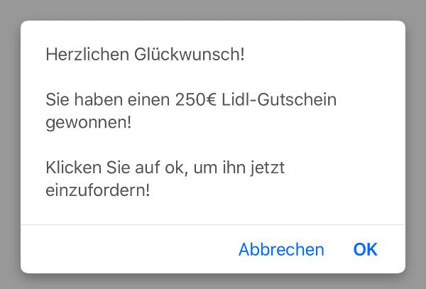 WhatsApp 250 Euro Lidl Gutschein Kettenbrief 1