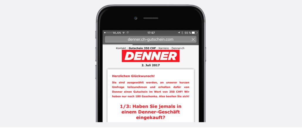 WhatsApp Kettenbrief Denner Gutschein 350 CHF