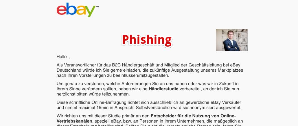 eBay Phishing Einladung Webinar Umfrage