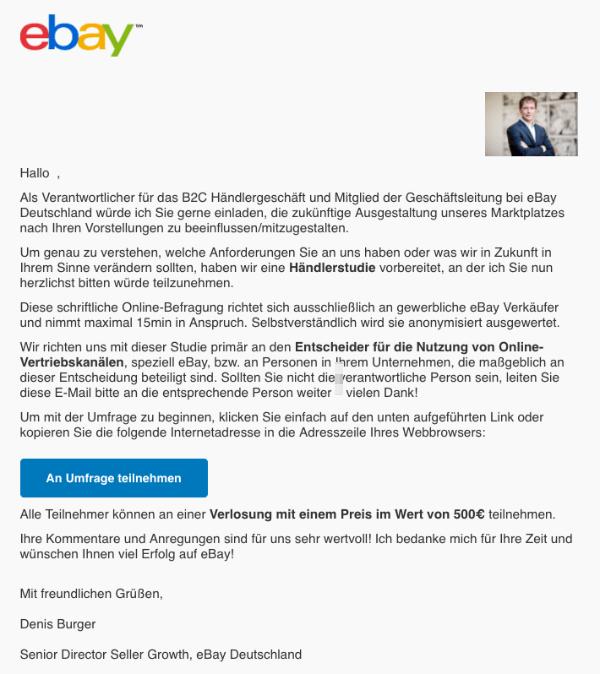 eBay Spam Mail Phishing Umfrage