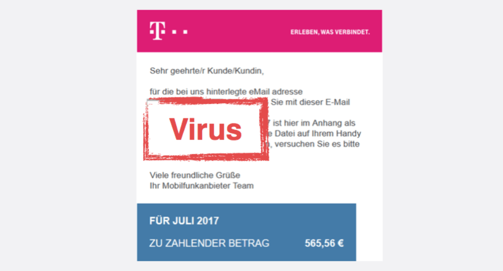 Gefälschte Telekom Rechnung Mit Virus Im Umlauf Vorsicht