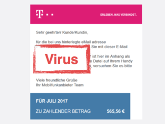 2017-08-04 Spam-Mail Mobilfunkrechnung im Namen der Telekom mit Virus