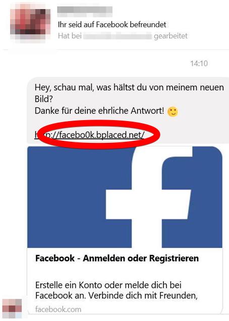 2017-08-07 Facebook Phishing Messenger Nachricht