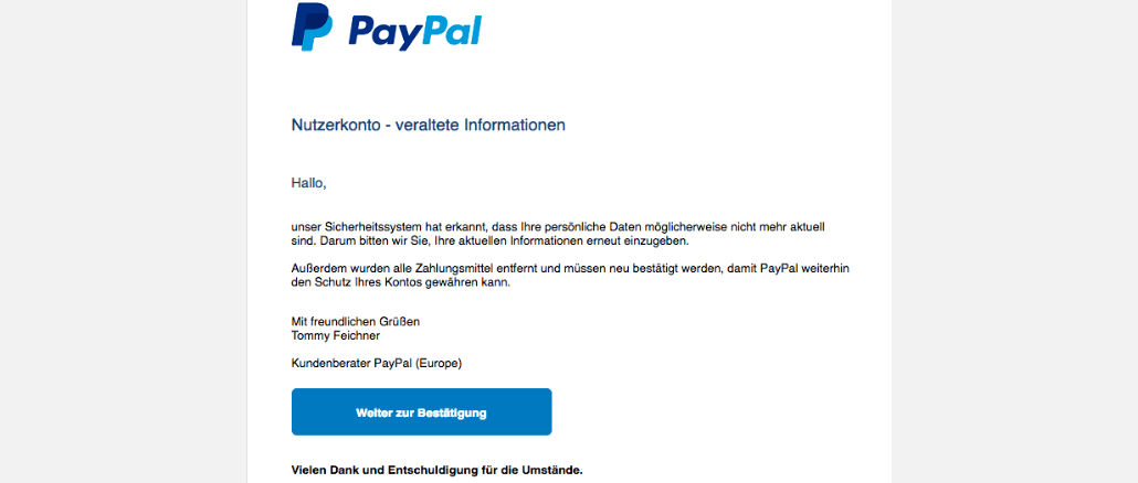 2017-08-13 Spam-Mail PayPal: Nutzerkonto - veraltete Informationen