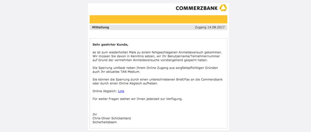 2017-08-14 Commerzbank Phishing Fehlgeschlagener Anmeldeversuch - Handlungsbedarf