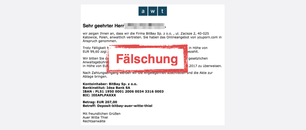 2017-08-17 Mahnung Rechtsanwalt Auer Witte Thiel Wondo GmbH BitBay Sp