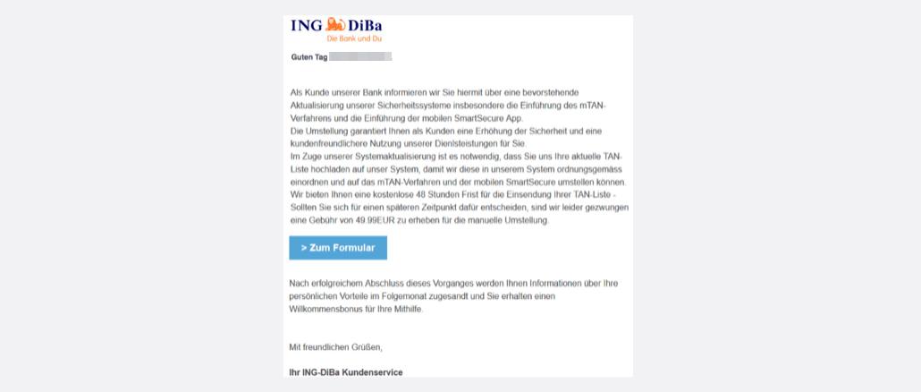 Ing-DiBa Spam Nachricht von Ihrem ING-DIBa Kundenservice