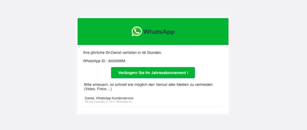 WhatsApp Spam Phishing Ihre jahrliche IN-Dienst verfallen in 48 Stunden