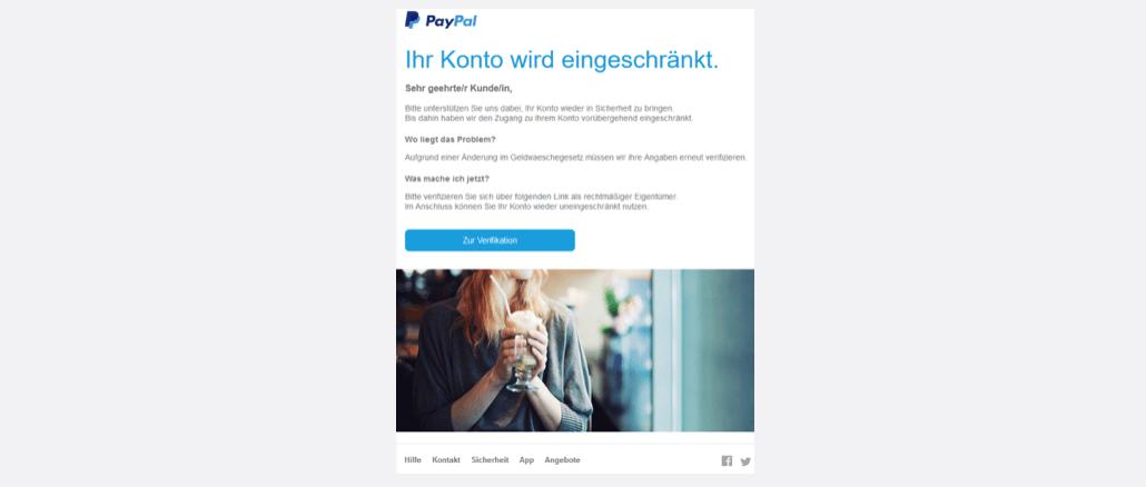 2017-08-21 PayPal Phishing Sicherheitsupdate! Geldwäschegesetz erfordert erneute Überprüfung!