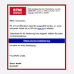 2017-08-22 Spam-Mail 75 Prozent Rabatt rewe.de