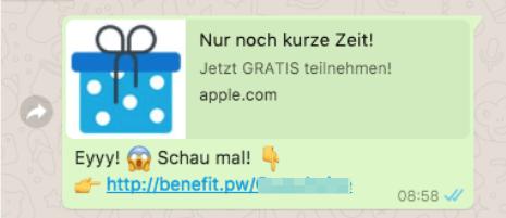 2017-08-22 WhatsApp Spam Kettenbrief Eyyy Schau mal iPhone 7 Gutscheine