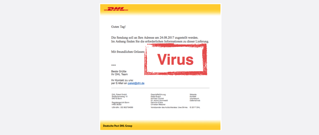 2017-08-24 DHL-Spam Mail Virus