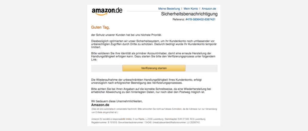 2017-08-26 Amazon-Spam Sicherheitsbenachrichtigung: Benutzerkonto temporär limitiert